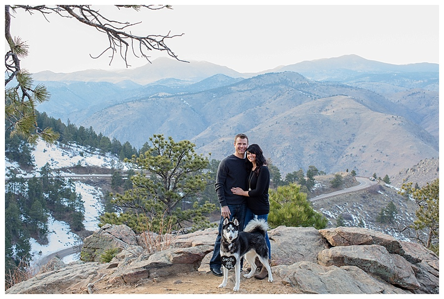 Adventurous Mountain Engagement Session With A Cute Husky