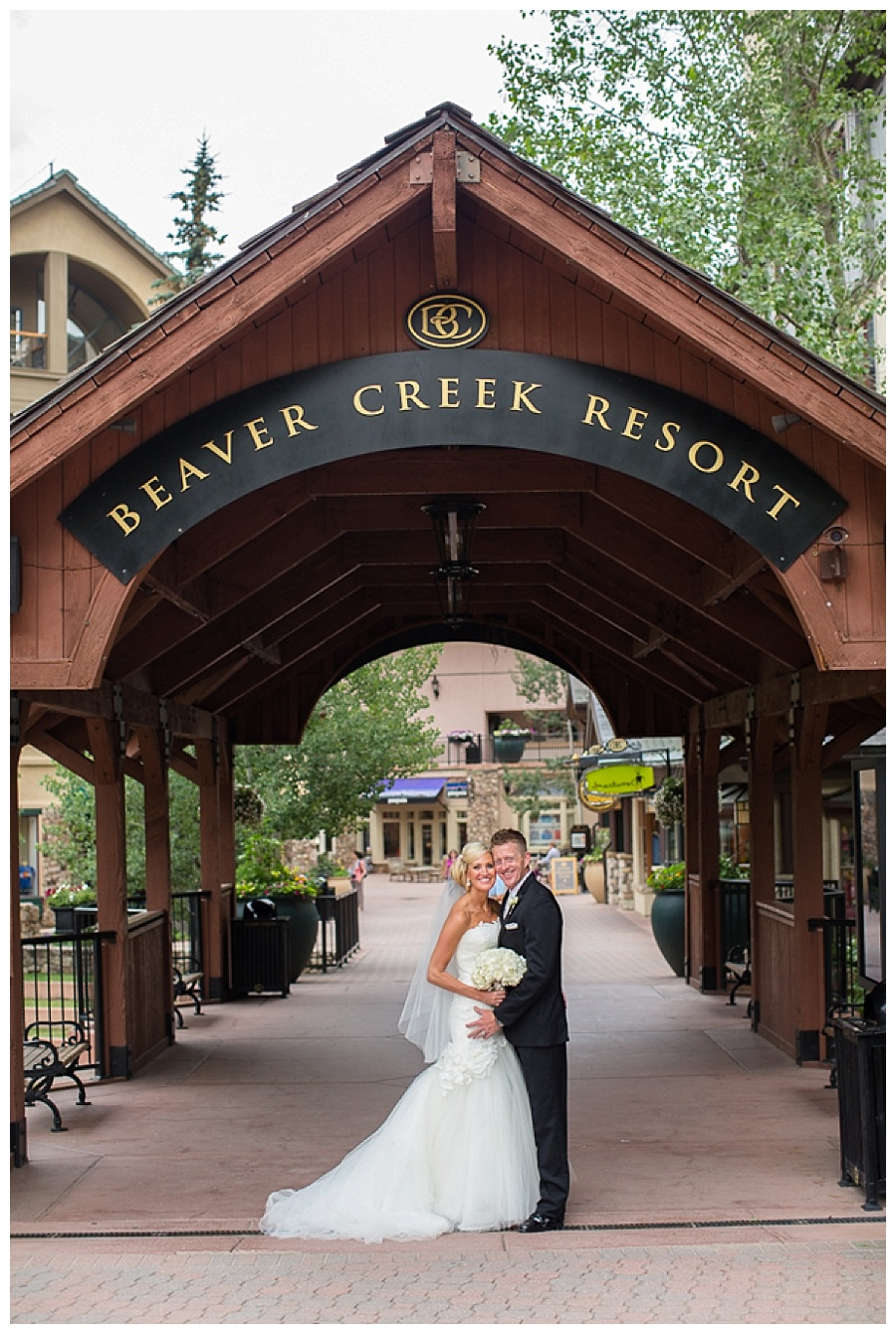 01 Bride and Groom on covered bridge in Beaver Creek wedding