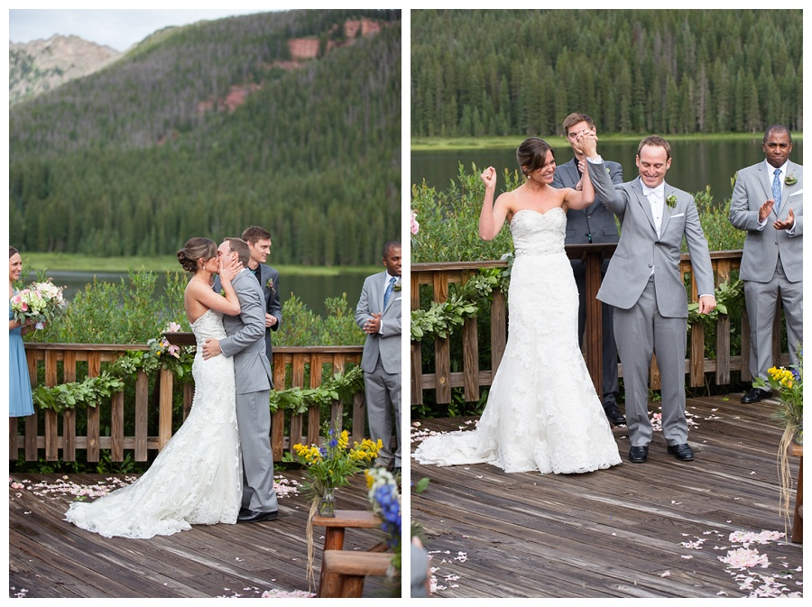 09 First Kiss at Piney River Ranch Wedding