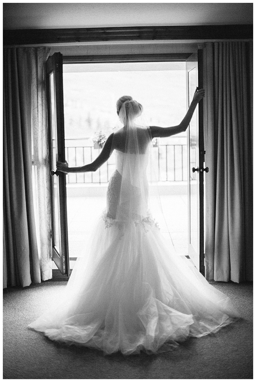 12 B&W photo of bride in doorway Beaver Creek wedding