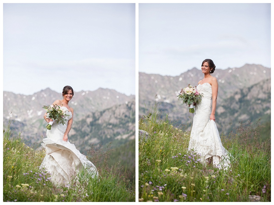 15 Bride on mountain top with wild flowers Piney River Ranch
