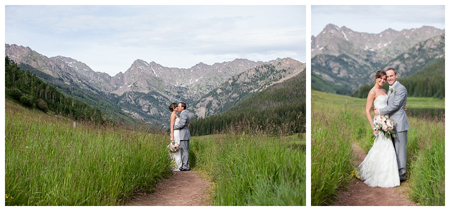 16 Bride and Groom walking through moutain field Piney River Ranch