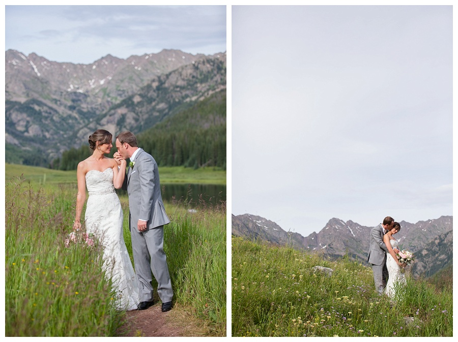 17 Bride and Groom with stunning mountain backdrop Piney River Ranch