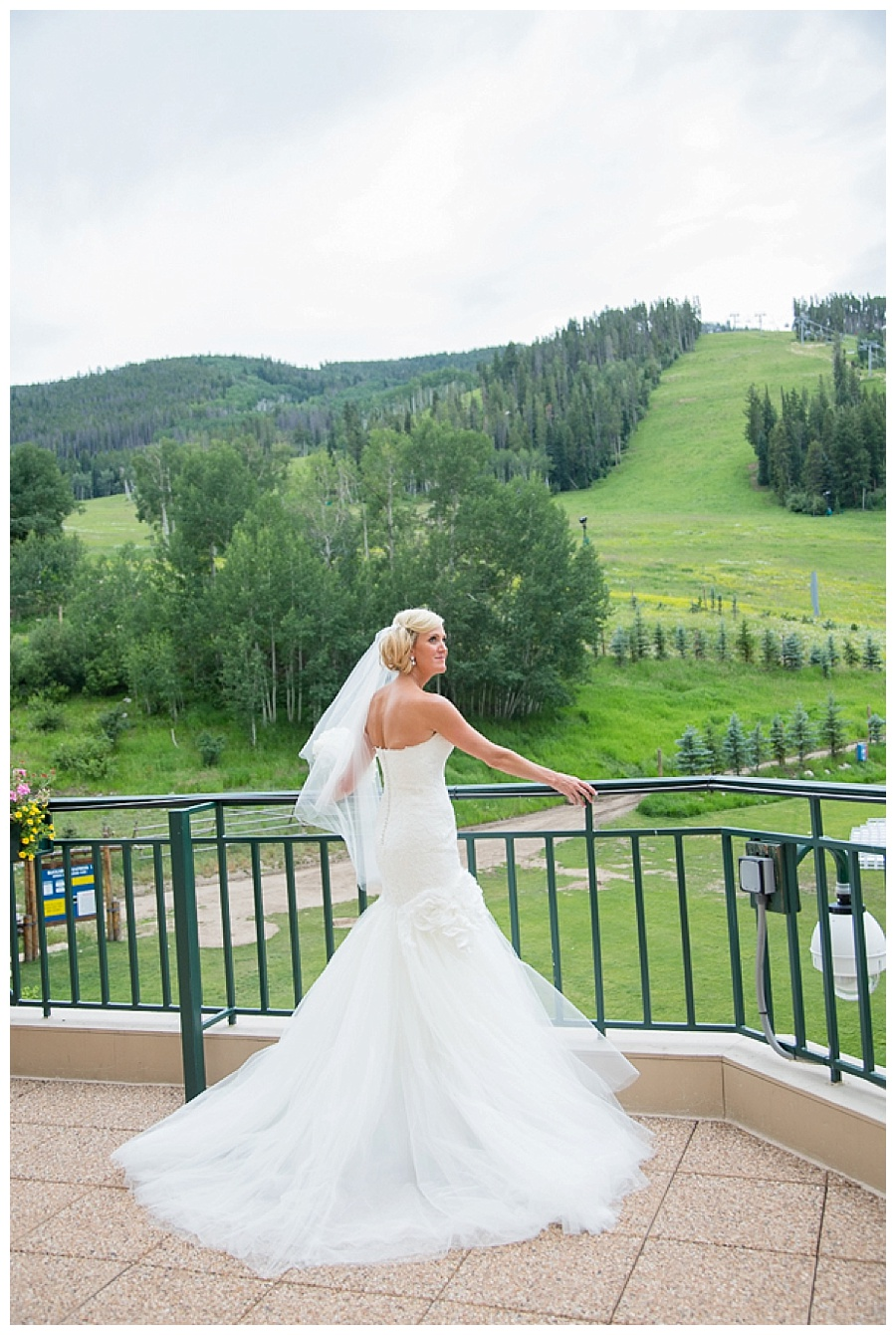 17 Bride on Park Hyatt deck in Beaver Creek