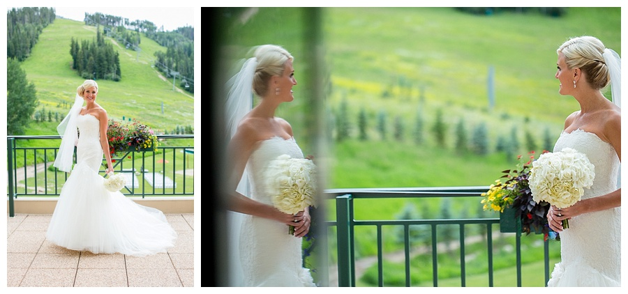 19 Bride on Deck in Beaver Creek Park Hyatt wedding