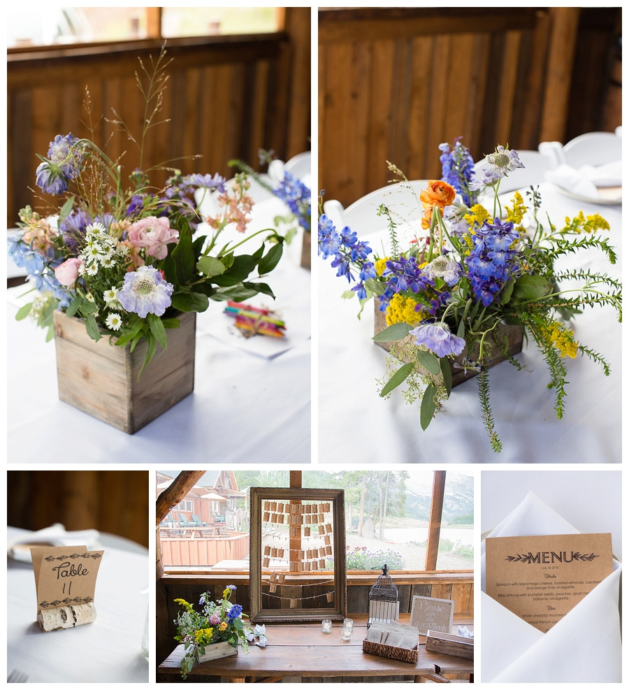 21 Wild Flower centerpieces at Piney River Ranch