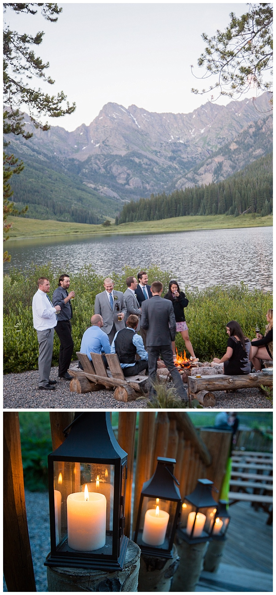 24 Wedding guests by campfire Piney River Ranch
