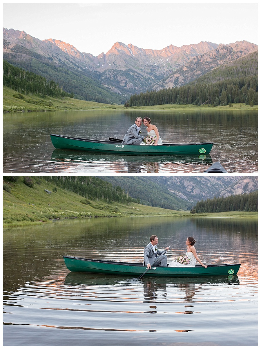 27 Bride and Groom in a canoe during sunset at Piney River ranch