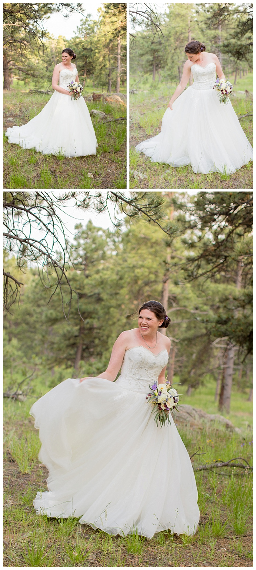 Bride in the mountains on Boettcher Mansion