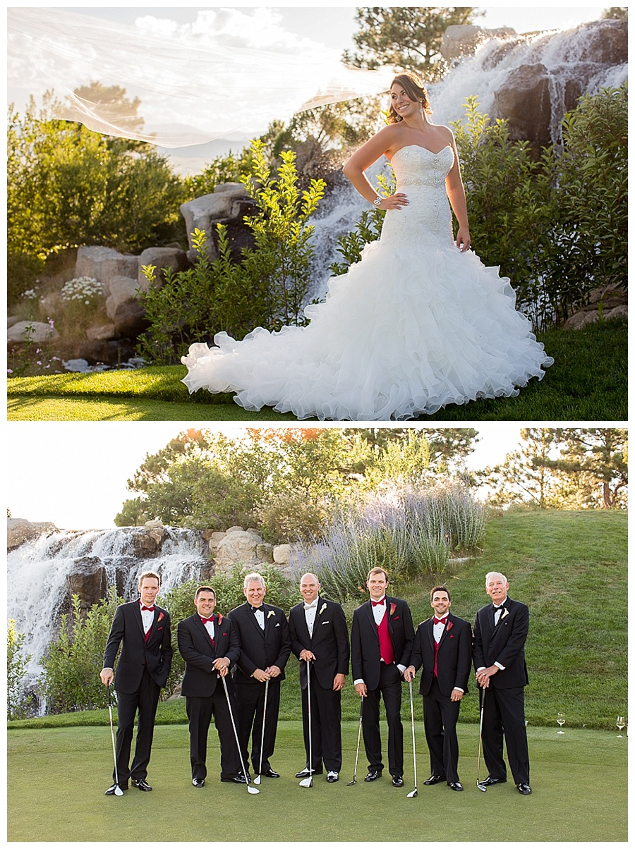 15 Bride by water fall and groomsmen with groom and golf clubs sanctuary golf course
