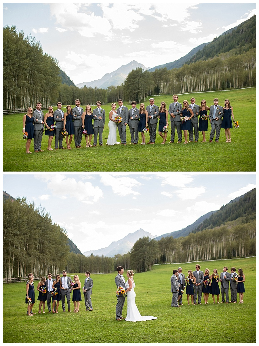 Aspen CO wedding formal shots taken in meadow with Maroon Bells mountain background