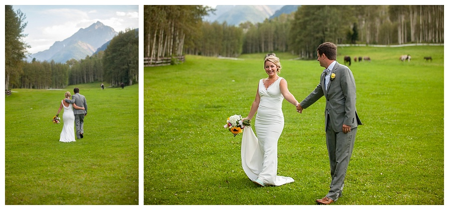 Aspen meadow bride and groom shot at T Lazy 7 Ranch with Maroon Bells