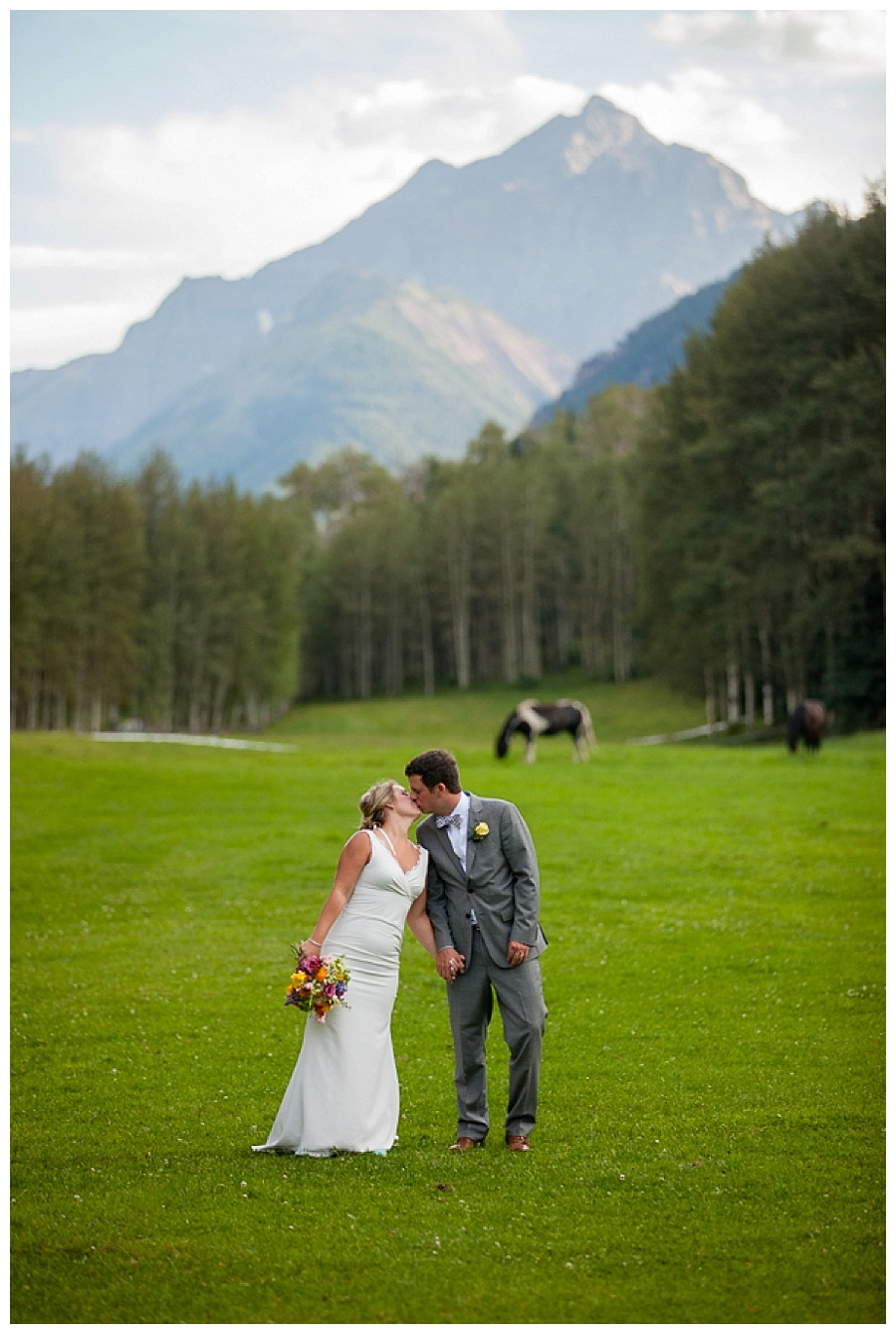 Aspen mountain meadow bride and groom shot