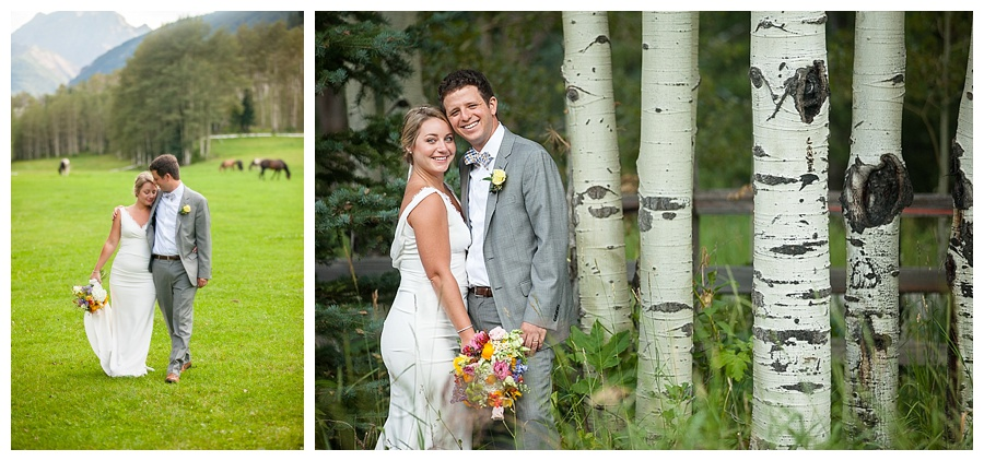 Aspen wedding with Maroon Bells in background and bride and groom shot in aspen