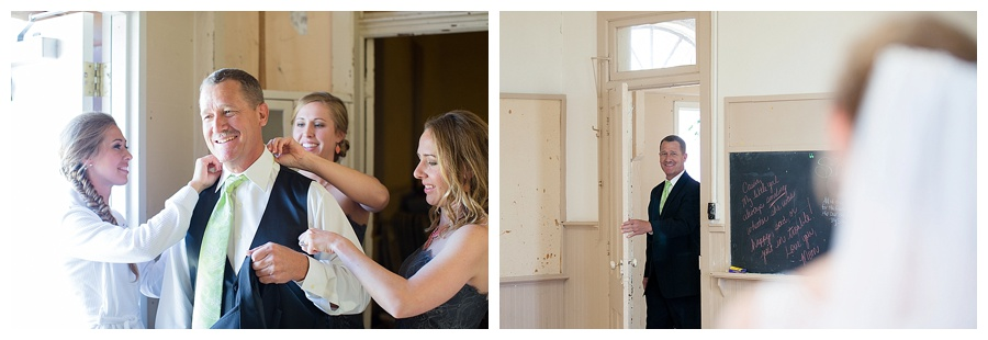 bride helping father get ready lime green tie for wedding