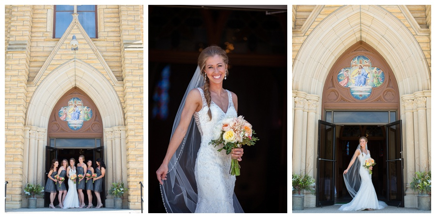 bride in front of Hayes Kansas church