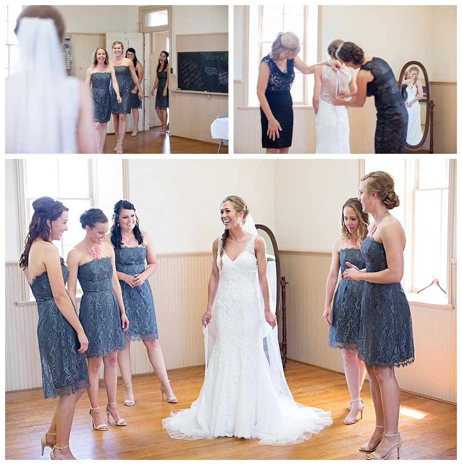 bride with bridesmaids getting ready at church in Hayes Kansas