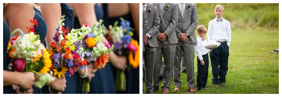 brides maid bouquets and groomsmen with ring bearers Aspen wedding outside