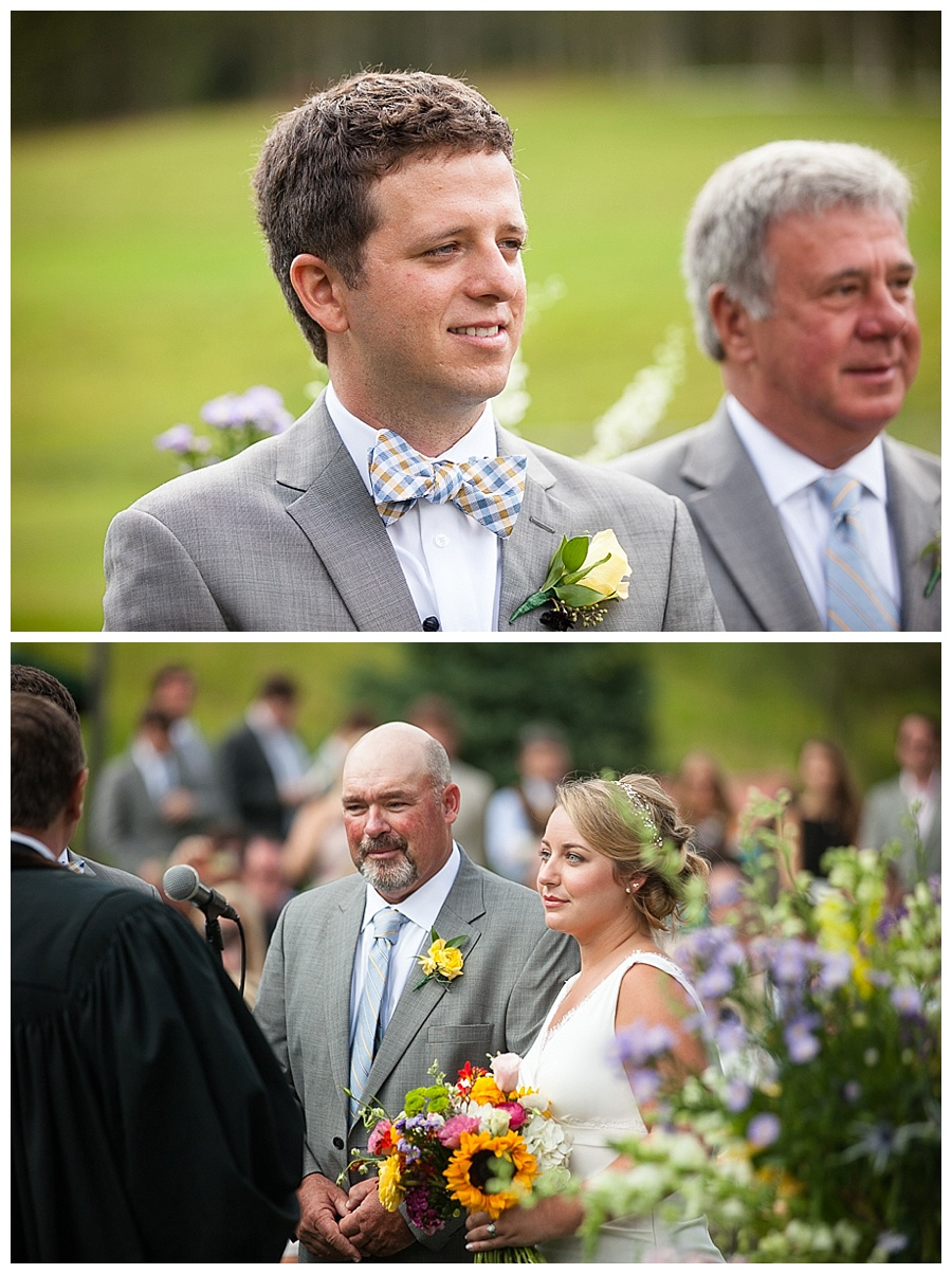 groom's face as father and bride walk down asile Aspen wedding