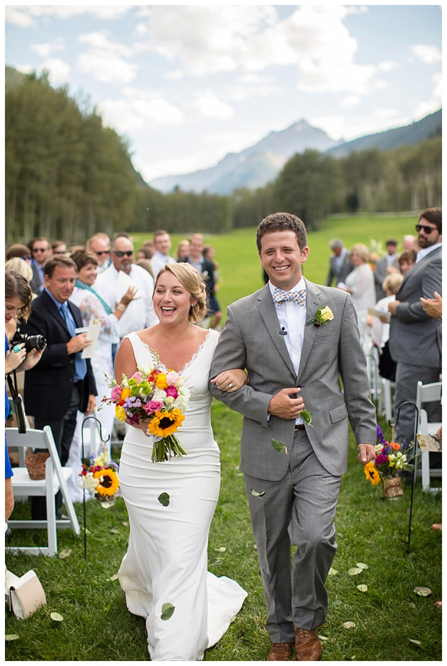 Mr and Mrs wedding shot with Maroon Bells in Aspen CO