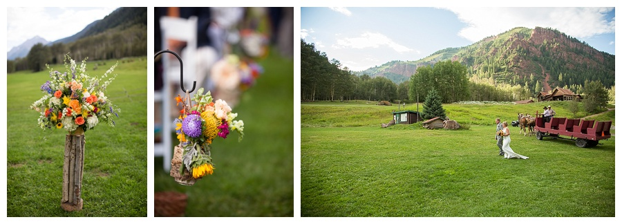 stunning flowers for Aspen CO outside wedding with horse drawn sled wagon