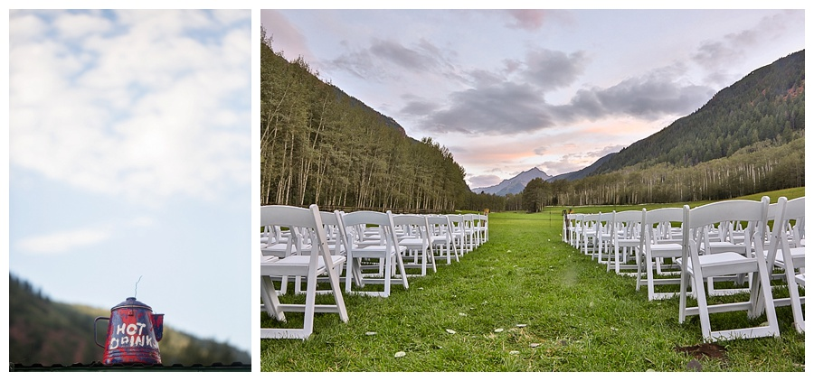 T Lazy 7 Ranch outdoor ceremony site at sunset in Aspen CO