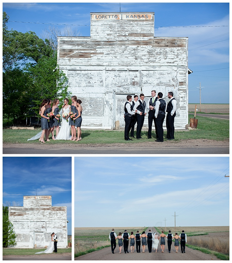 wedding party in front of old country store in Kansas