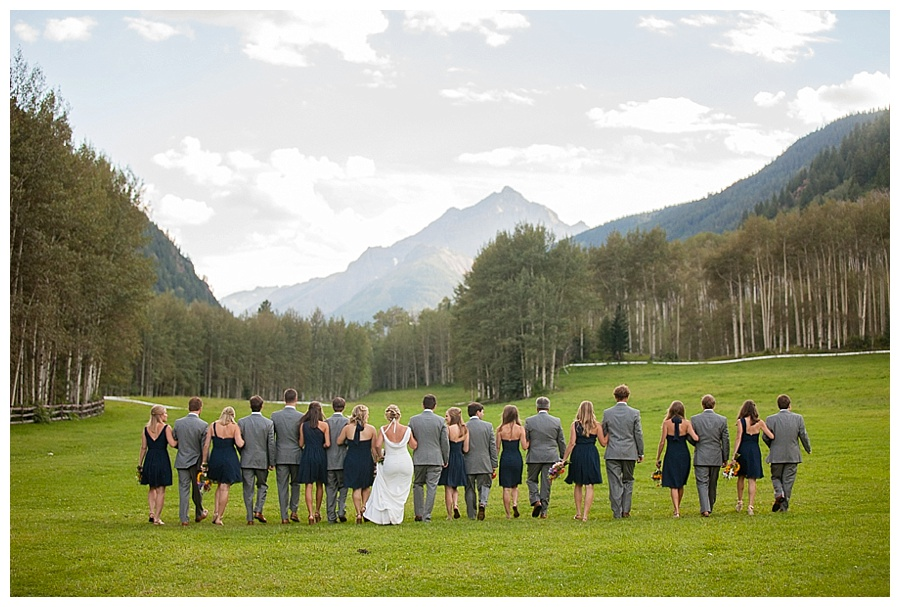 wedding party shot in meadow at T Lazy 7 Ranch in Aspen CO