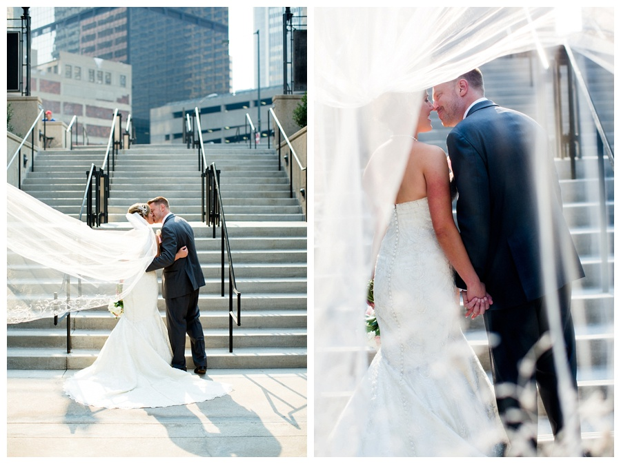 bride and groom wedding photo outside the Seawell Grand Ballroom downtown Denver