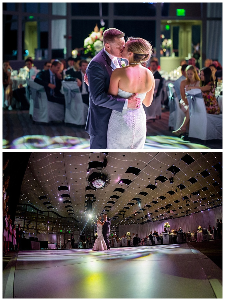 first dance for bride and groom at Seawell Grand Ballroom