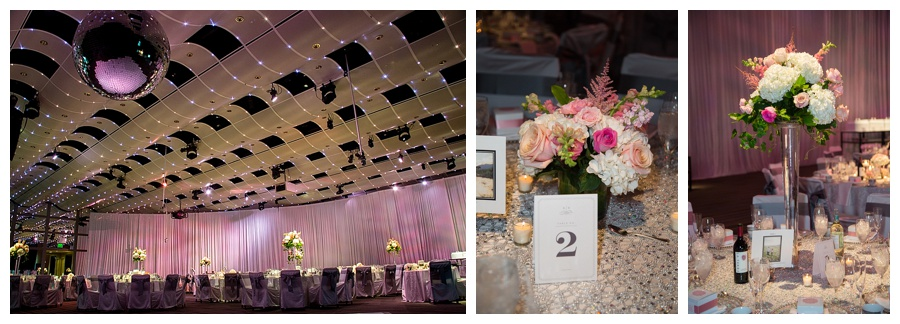 Pink and silver wedding at Seawell Grand Ballroom downtown Denver