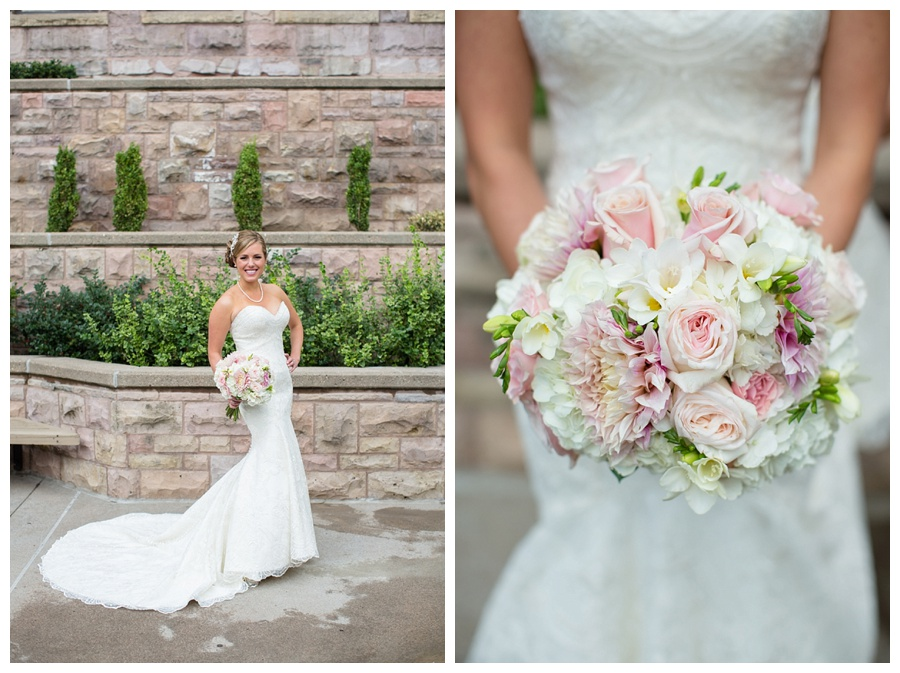 pink poeny and rose bridal bouquet