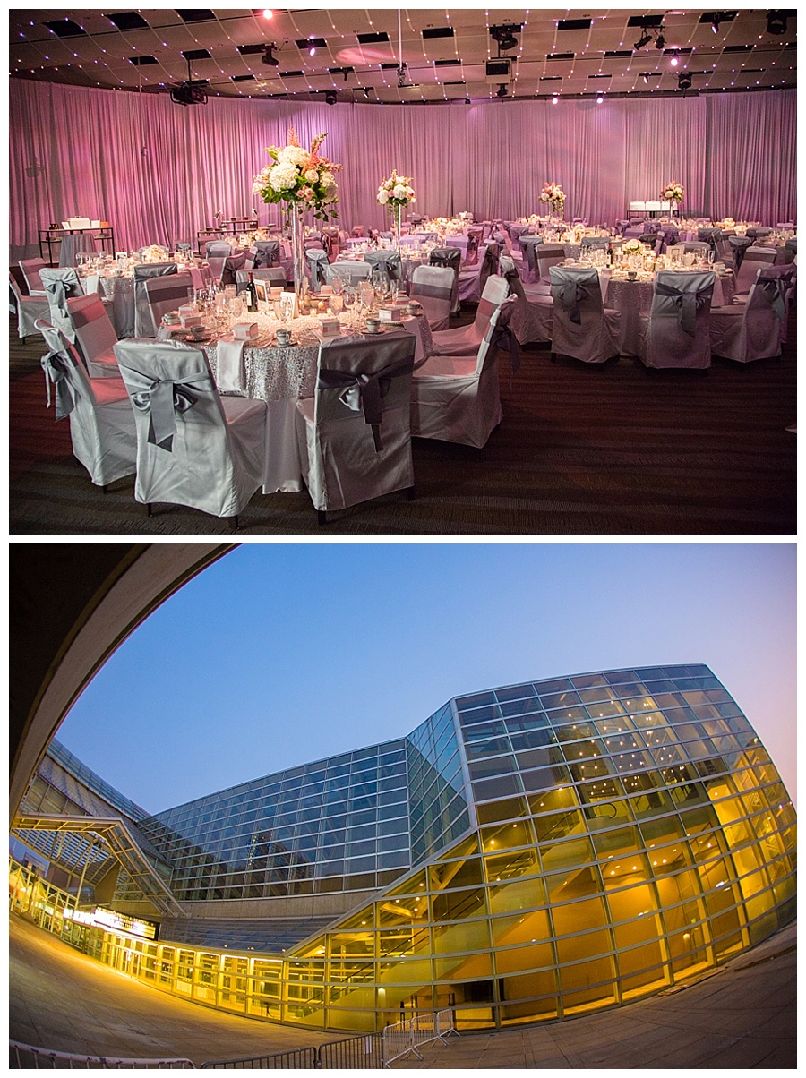 Seawell Grand Ballroom in pink and silver for wedding downtown Denver