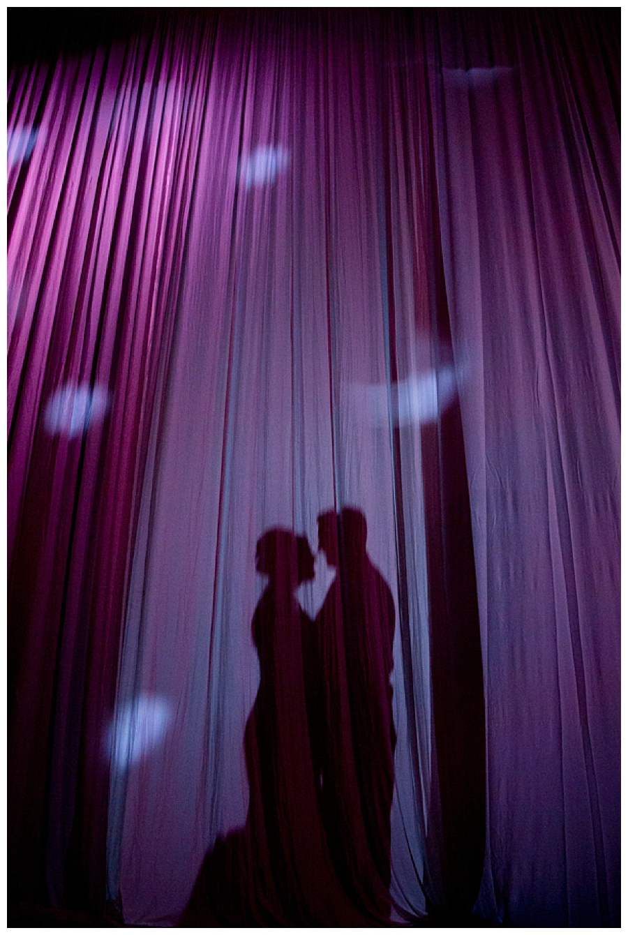 silhouette of bride and groom at Seawell Grand Ballroom