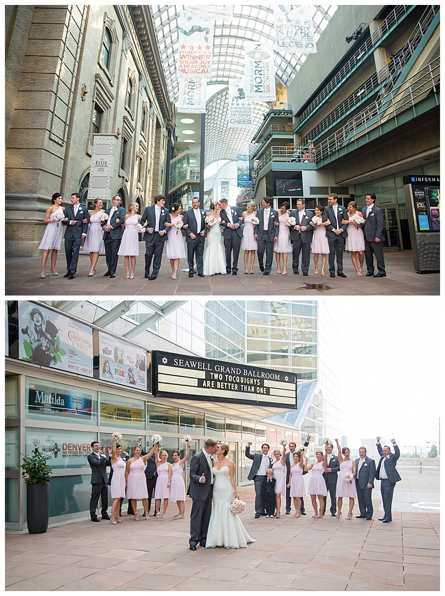 urban wedding party shot in downtown Denver