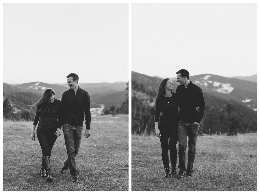 B&W engagement photos in the mountains