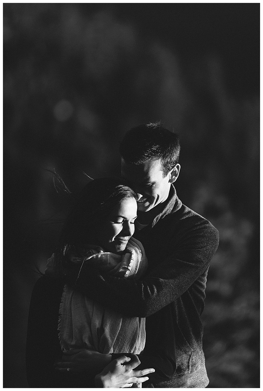 Dramatic B&W engagement photos that are romantic