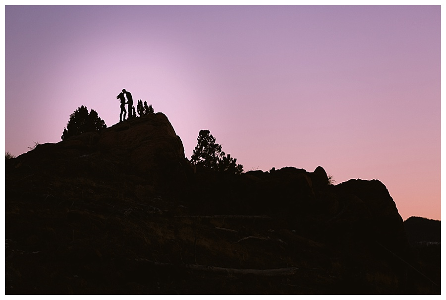 Engagement session while hiking at sunset