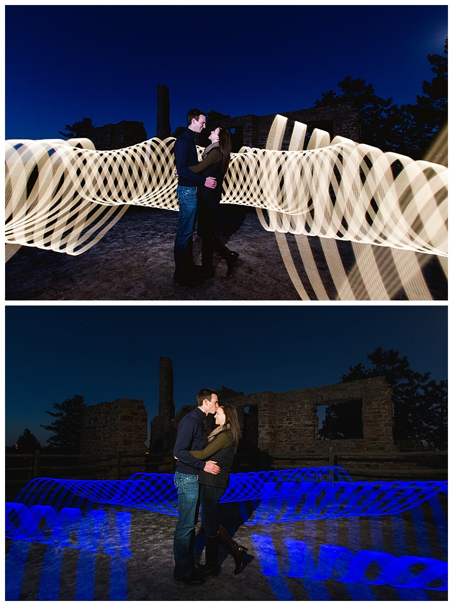Light painting engagement photos