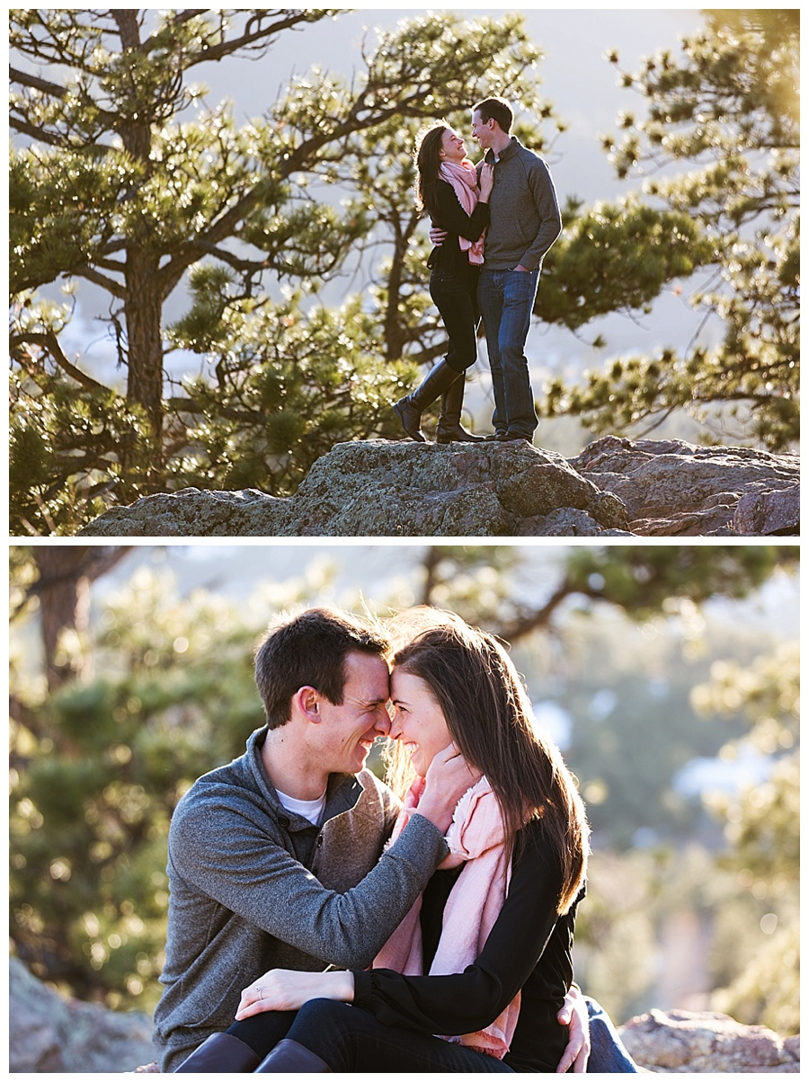 Romantice sunset engagement photos in a mountain setting